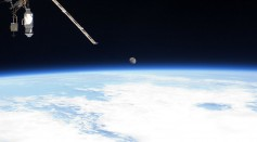 Earth's horizon and the moon can be seen from the International Space Station July 12, 2011 in space.