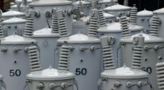 New electrical transformers are seen at a Pacific Gas & Electric storage facility May 29, 2003 in San Francisco, California