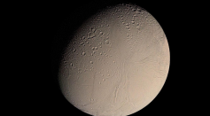 This color Voyager 2 image mosaic shows the water-ice-covered surface of Enceladus, one of Saturn's icy moons. Enceladus' diameter of just 500 km would fit across the state of Arizona.