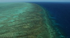 Aerial views of The Great Barrier Reef are seen from above Cairns, Australia.