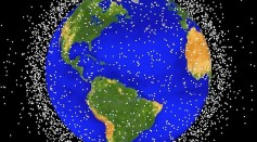 This National Aeronautics and Space Administration (NASA) handout image shows a graphical representation of space debris in low Earth orbit.