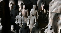 Ancient terracotta soldiers and horses are seen in the No.1 pit of the Qin Terracotta Warriors and Horses Museum on October 24, 2007 in Lintong of Shaanxi Province, China.