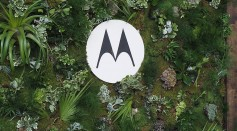 Logo of Motorola, now Moto by Lenovo seen during a product launch in New York City