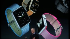 Apple CEO Tim Cook speaks about the Apple Watch during an Apple special event at the Apple headquarters on March 21, 2016 in Cupertino, California.