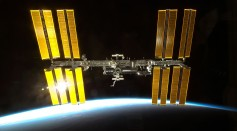 International Space Station with solar reflection