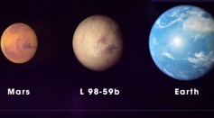 size comparison for Mars, L98-59b, and Earth