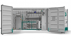 Containerized type hydrogen release system by Hydrogenious LOHC Technologies