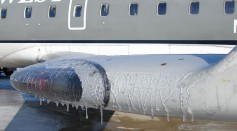 Ice on aircraft wing