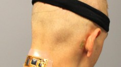 Flexible wireless electronics on the back of the head