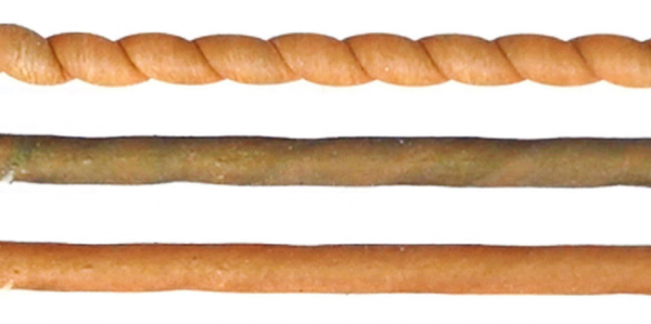 A coiled fiber at room temperature (orange, top) cools when untwisted (brown, middle) before returning to room temperature over time (bottom).