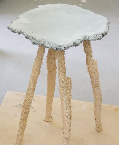 One of the furniture pieces cast by Gavin Keightley using various food items as casting mold.