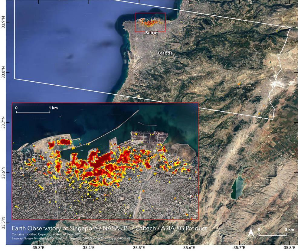 Nhìn: Bản đồ vệ tinh của NASA Mức độ vụ nổ Beirut