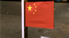 China Displays Its First Flag On Moon That Is Attached to Chang'e 5