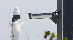 SpaceX Falcon-9 Rocket And Crew Dragon Capsule Launches From Cape Canaveral Sending Astronauts To The International Space Station
