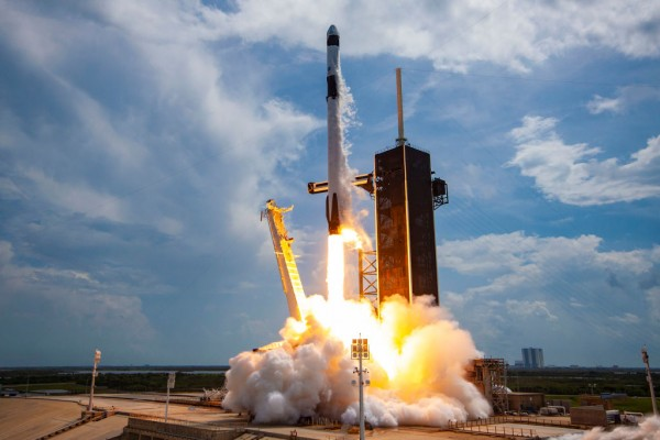 SpaceX Falcon-9 Rocket And Crew Dragon Capsule Launches From Cape Canaveral