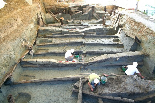 Fig 2. The lower tank at Noceto under excavation.