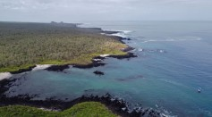 Aerial view of Floreana Island in the Galapagos