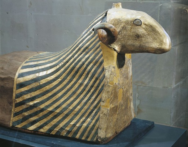 Mummy of a ram, animal sacred to the God Khnum, from Elephantine Island. Egyptian civilisation, Ptolemaic Period.