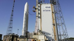 The European Ariane 5 rocket stands on t