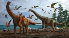 An artist's illustration showing Silutitan sinensis (left) and Hamititan xinjiangensis (right), with other theropods and dinosaur species in the surroundings.