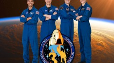 The official crew portrait of the SpaceX Crew-3 mission: (from left) Commander Raja Chari and pilot Thomas Mashburn, both NASA astronauts. Mission specialist Matthias Maurer of ESA (European Space Agency). Mission specialist Kayla Barron of NASA.