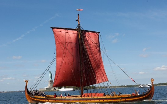 The World's Largest Viking Ship, Draken Harald Harfagre is read to dock in New York City on Sept. 17, 2016.