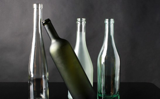 Glass bottles in different colors and form