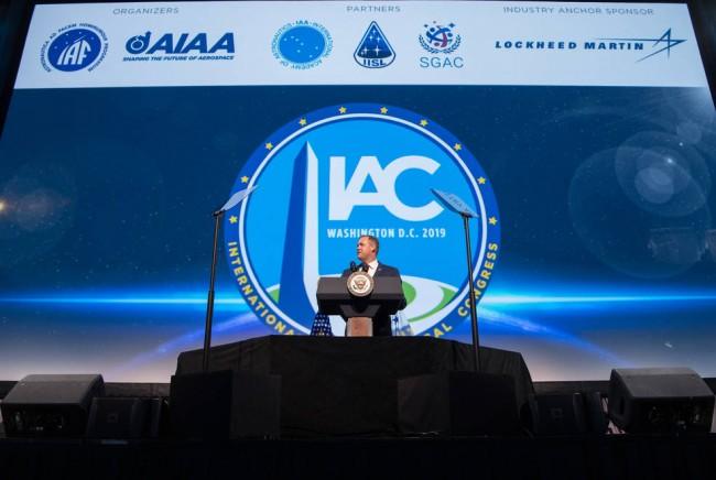 NASA Administrator Jim Bridenstine at the 70th International Astronautical Congress.