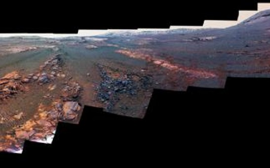 Panoramic View of the Perseverance Valley in Mars
