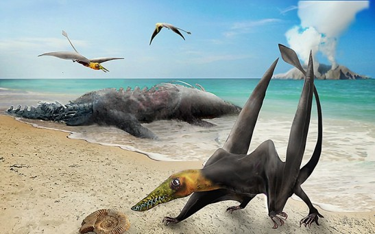 Re-creation of the type of pterosaur discovered in a Chilean desert.