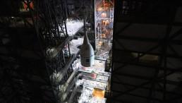 Lift Underway to Top Mega-Moon Rocket with Orion Spacecraft